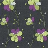 Vliesové tapety na zeď Belcanto - květy fialovo zelené - SLEVA