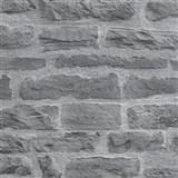 Vliesové tapety IMPOL Wood and Stone 2 cihlová stěna šedo-černá
