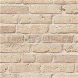 Vliesové tapety IMPOL Wood and Stone 2 cihly hnědo-béžové
