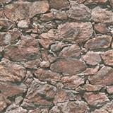 Vliesové tapety IMPOL Wood and Stone 2 ukládaný kámen tmavě hnědý