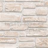 Vinylové tapety na zeď Wood´n Stone cihla světle hnědá