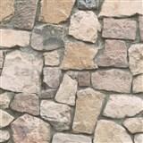 Papírové tapety na zeď Wood´n Stone kámen hnědý