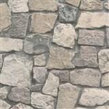 Vliesové tapety na zeď Wood´n Stone kamenná zeď hnědá