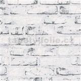 Vliesové tapety na zeď Wood´n Stone cihla bílo-šedá