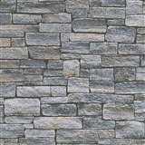 Vliesové tapety na zeď Wood´n Stone kámen ukládaný šedo-hnědý