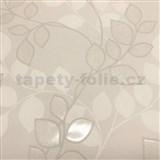 Vliesové tapety na zeď Collection lístky hnědé se třpytkami na hnědém podkladu
