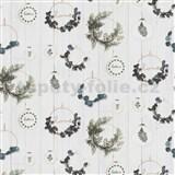 Vliesové tapety na zeď IMPOL HOME s eucalyptem na bílém dřevě