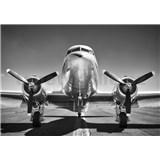 Vliesové fototapety černobílé letadlo rozměr 368 cm x 254 cm