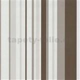 Vliesové tapety na zeď Happy Time - pruhy - hnědé