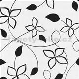 Tapety na zeď Lofty - květy stylizované černé