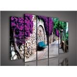 Obraz na plátně lavička v zahradě 150 x 100 cm