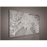 Obraz na plátně listy s tulipány 75 x 100 cm