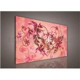 Obraz na plátně srdce s květy 75 x 100 cm
