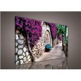 Obraz na plátně lavička v zahradě 75 x 100 cm