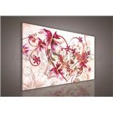 Obraz na plátně srdce s květinami 75 x 100 cm
