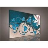 Obraz na plátně srdce modré s lilií 75 x 100 cm