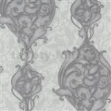 Vliesové tapety na zeď Studio Line - Opulent zámecké ornamenty bílo-stříbrné se třpytem
