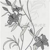 Vliesové tapety na zeď Timeless - lilie šedé
