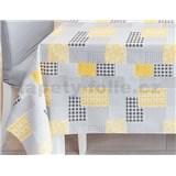 Ubrus metráž patchwork šedo-žlutý