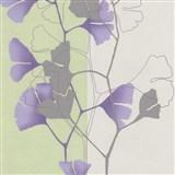 Vliesové tapety na zeď 4ever - listy Ginkgo fialovo-zelené
