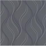 Vliesové tapety na zeď Bali vlnovky šedé, černé, stříbrné
