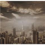 Luxusní vliesové fototapety Hong Kong - sépie, rozměr 279 cm x 270 cm