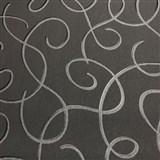 Vliesové tapety na zeď Collection 2 stříbrné vlnky s černými konturami na černém podkladu