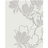 Vliesové tapety na zeď Summer Time květy hnědo-stříbrné