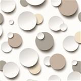 Vliesové tapety na zeď Just Like It 3D kuličky bílé, hnědé, šedé