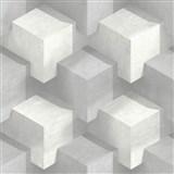 Vliesové tapety na zeď PRISME 3D kostky bílo-šedé