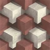 Vliesové tapety na zeď PRISME 3D kostky bílo-červené