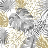 Vliesové tapety na zeď IMPOL Escapade listy palmy a monstery šedo-zlaté