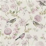 Vliesové tapety na zeď IMPOL Escapade florální vzor s ptáky na bílém podkladu