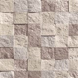 Vliesové tapety na zeď Roll in Stones kamenná mozaika hnědo-růžová