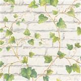Vliesové tapety na zeď IMPOL Wood and Stone 2 cihlová stěna bílá s popínavým břečťanem
