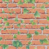 Vliesové tapety IMPOL Wood and Stone 2 cihlová stěna s popínavým břečťanem