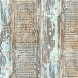 Vliesové tapety IMPOL Wood and Stone 2 hoblované desky s tyrkysovou patinou