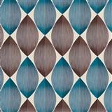 Vinylové tapety na zeď Adelaide retro vzor hnědo-modrý na krémovém podkladu