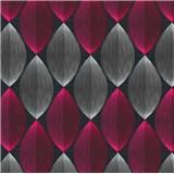 Vinylové tapety na zeď Adelaide retro vzor bílo-růžový na černém podkladu