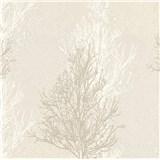 Vinylové tapety na zeď Adelaide stromky bílo-hnědé na krémovém podkladu