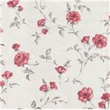 Vliesové tapety na zeď Allure květy růží červené se třpytem
