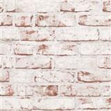 Vliesové tapety na zeď Wood´n Stone cihla červená s bílým nátěrem