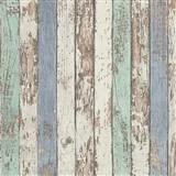 Vliesové tapety na zeď Wood´n Stone dřevěné latě zelené, modré, bílé