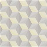 Vliesové tapety na zeď Esprit 3D abstrakt hnědo-žlutý se třpytem