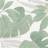 Luxusní vliesové tapety na zeď Avalon listy s květy zelené na bílém podkladu