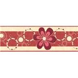 Samolepící bordury květy růžovo-hnědé 5 m x 6,9 cm