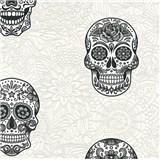 Vliesové tapety na zeď Boys & Girls lebky šedo-černé na bílém podkladu
