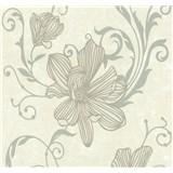 Vliesové tapety na zeď Carat květy stříbrné na světle hnědém podkladu - POSLEDNÍ KUSY