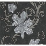 Vliesové tapety na zeď Carat květy stříbrné na černém podkladu