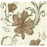 Vliesové tapety na zeď Carat květy měděné na světle hnědém podkladu